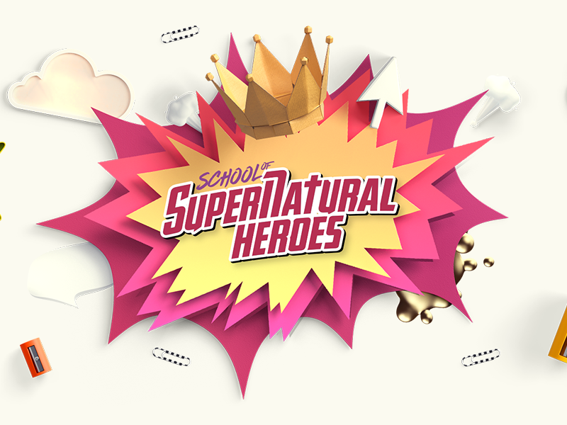 Ontwerp School of Supernatural Heroes [christelijk]. Door Around Seven