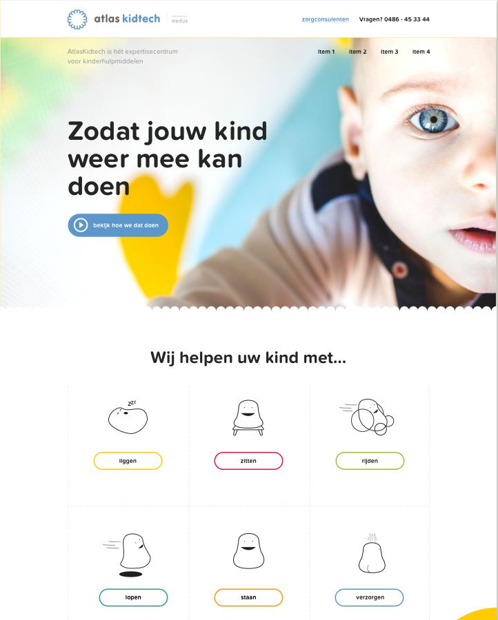 Atlas Kidtech ontwerp - homepage