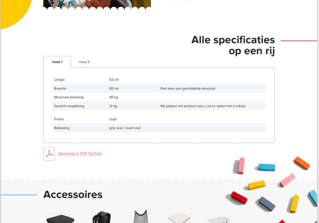 Atlas Kidtech Ontwerp: productspecs
