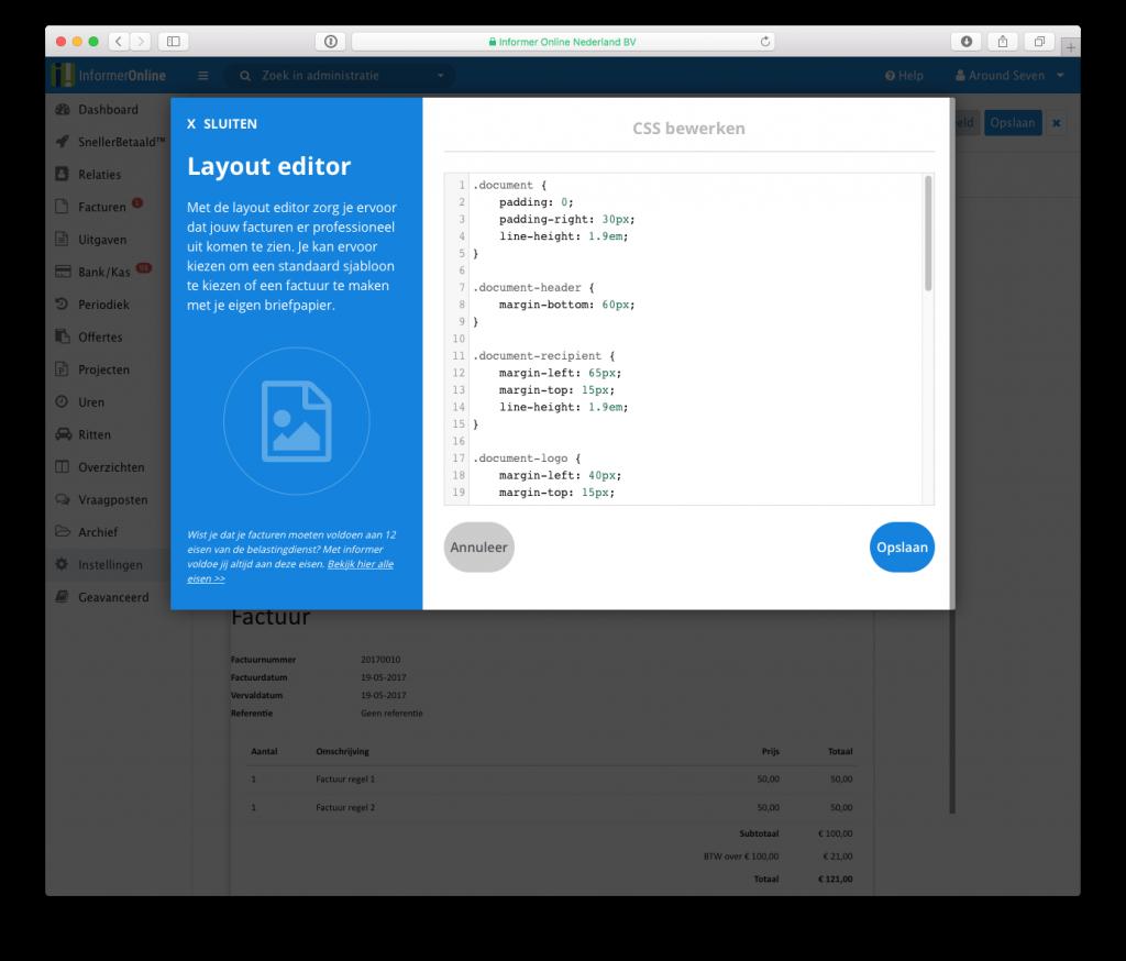 Informer Custom CSS Moneybird facturen
