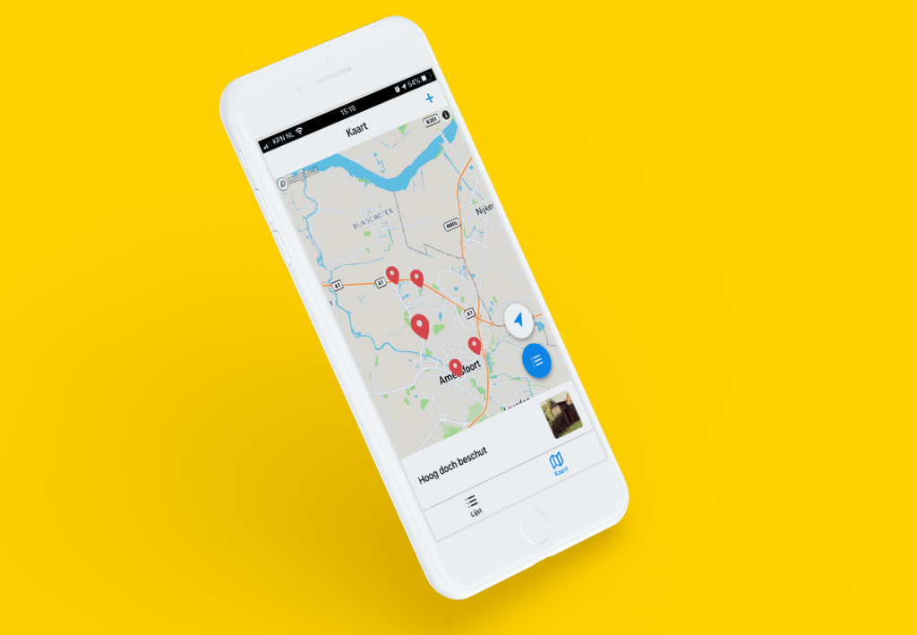Mockup elektriciteitshuisjes app - op de kaart